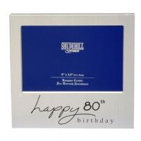 Happy Birthday Satin Silver Plated Photo Frame  80th